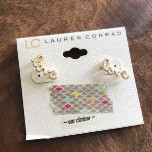 "LC Lauren Conrad Gold Ear Climber ""love"" Earrings"